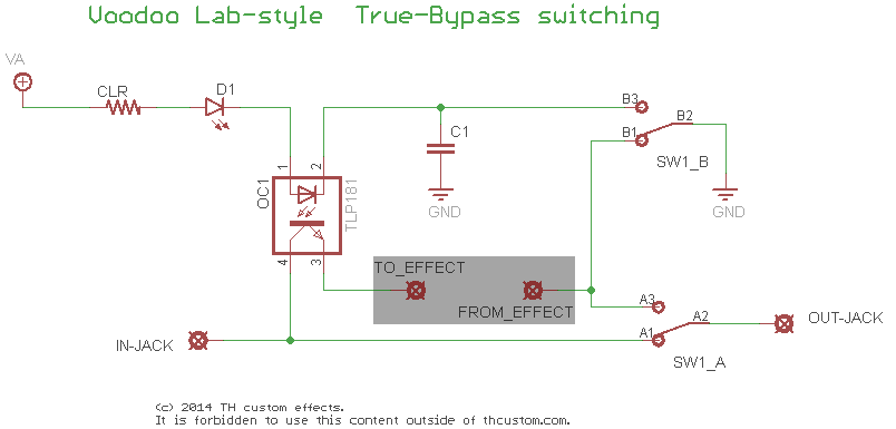 Switching 2PDT True Bypass The Voodoo Lab Version TH Custom - Dpdt Relay True Bypass