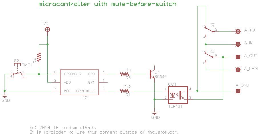 switching relay true bypass circuits using a microcontroller th rh diy thcustom com teb7as bypass relay wiring diagram emergency bypass relay wiring diagram